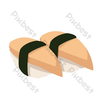 ilustración de rebanada de jamón pastel de arroz de algas Elementos graficos Modelo PSD