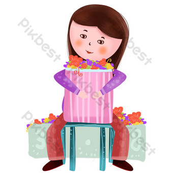 Section 38 Beauty Holding Flowers PNG Images Template PSD