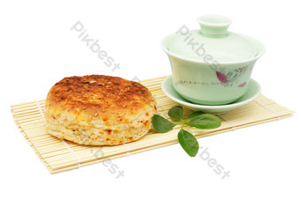Sesame cake and tea cup PNG Images Template RAW