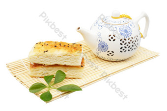 Sesame cake and teapot PNG Images Template RAW