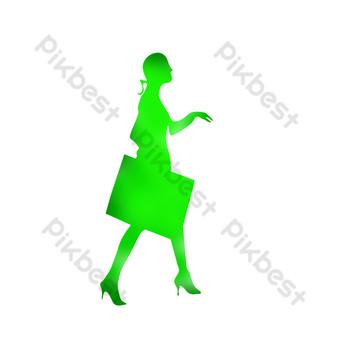 silueta de niña de compras verde Elementos graficos Modelo PSD
