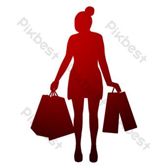 silueta de dama de compras Elementos graficos Modelo PSD