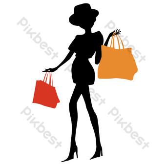siluetas de personas de compras Elementos graficos Modelo PSD