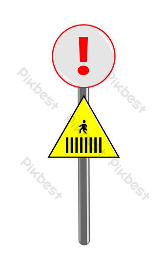ilustración de icono de advertencia de acera Elementos graficos Modelo PSD
