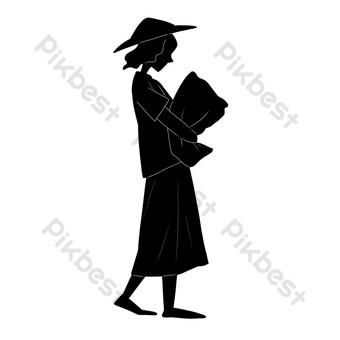 silueta de una dama con un sombrero de paja Elementos graficos Modelo PSD
