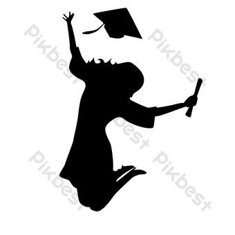 silueta de niña saltando y arrojando sombrero durante la temporada de graduación Elementos graficos Modelo PSD