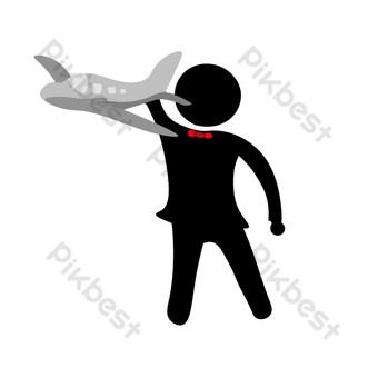 silueta de personas jugando avion Elementos graficos Modelo PSD
