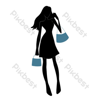 silueta de niña de compras Elementos graficos Modelo PSD