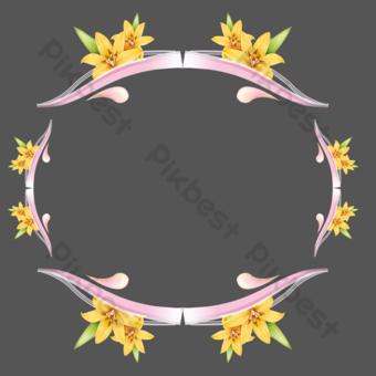 frontera creativa de flores simples y hermosas Elementos graficos Modelo PSD