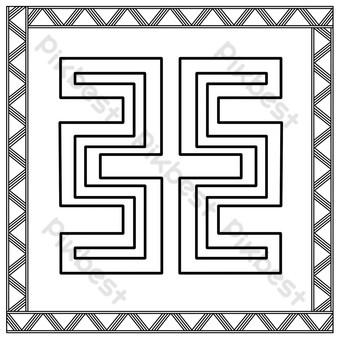 patrón de patrón de doce capítulos de línea negra simple Elementos graficos Modelo PSD