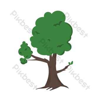 simple árbol grande verde de dibujos animados lindo Elementos graficos Modelo PSD
