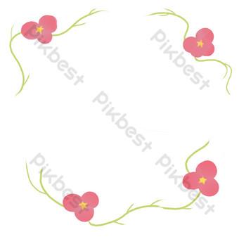 frontera de rama de flor simple Elementos graficos Modelo PSD