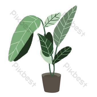 diseño de maceta de planta verde simple Elementos graficos Modelo PSD