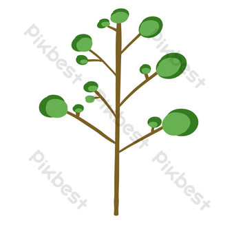 árboles verdes simples Elementos graficos Modelo PSD