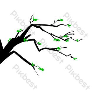 rama de árbol de dibujos animados de línea simple Elementos graficos Modelo PSD