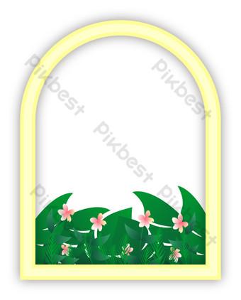 simple moderno ventana amarilla hierba verde flor roja paisaje vector png transparente Elementos graficos Modelo AI