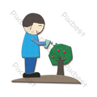 simple corte de papel plantación de árboles niño pequeño Elementos graficos Modelo PSD