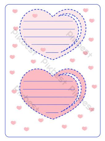 cuidado de borde de papel de carta rosa azul real simple Elementos graficos Modelo PSD