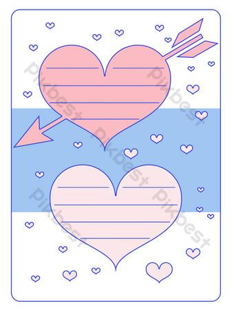 simple zafiro azul rosa papel de carta borde carta de amor Elementos graficos Modelo PSD