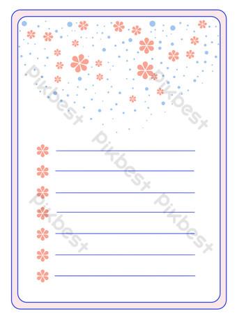 simple zafiro azul rosa carta papel borde pequeñas flores Elementos graficos Modelo PSD