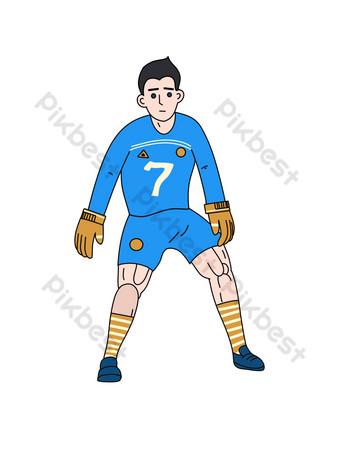 Illustration de gardien de but de football de style simple Image PNG Éléments graphiques Modèle PSD