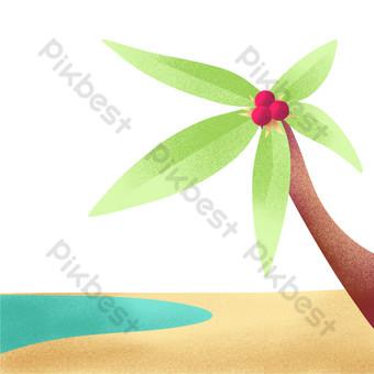 árbol de coco de playa de verano simple Elementos graficos Modelo PSD