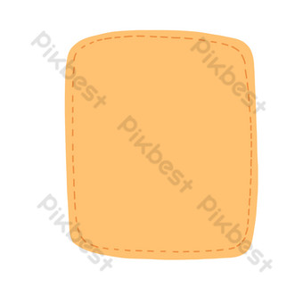 Simple yellow square free button border PNG Images Template PSD