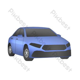 Simulation cartoon senior blue car illustration free PNG Images Template PSD