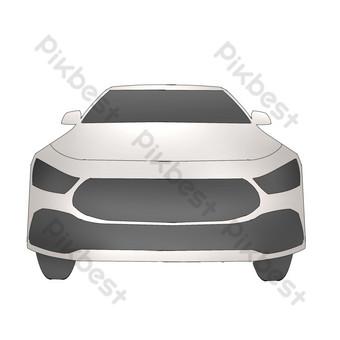 Simulation cartoon senior white gray car automobile illustration PNG Images Template PSD