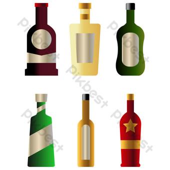 icono de botella de vino degradado de simulación Elementos graficos Modelo AI