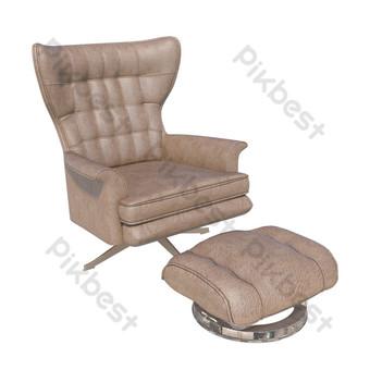 كرسي أريكة جلد واحد صور PNG قالب PSD