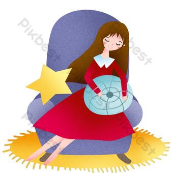 ilustración de niña sentada y durmiendo Elementos graficos Modelo PSD