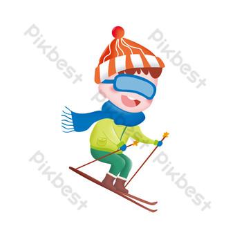 niño de esquí con botas de nieve Elementos graficos Modelo PSD