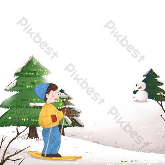 Figura de esquí en ladera de nieve en invierno Elementos graficos Modelo PSD