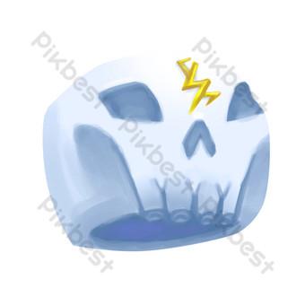 Ilustración de dibujos animados de sombrero de calavera Elementos graficos Modelo PSD