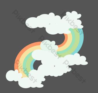 cielo arcoiris de dibujos animados Elementos graficos Modelo AI
