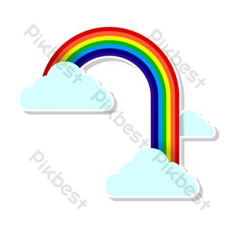 cielo linda cascada arcoiris Elementos graficos Modelo PSD
