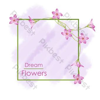 pequeña planta fresca pintada a mano frontera floral púrpura Elementos graficos Modelo PSD