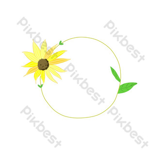 Small fresh simple cute dreamy hand-painted plant border series PNG Images Template PSD
