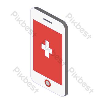 ilustración de la cruz roja del teléfono inteligente Elementos graficos Modelo PSD