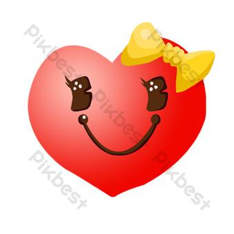 ilustración de decoración de corazón rojo de sonrisa Elementos graficos Modelo PSD