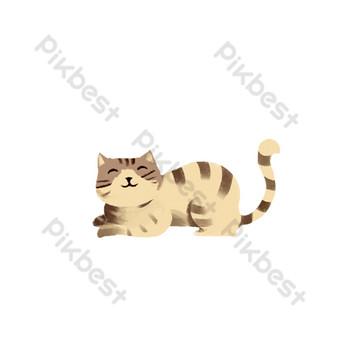 sonriente lindo gatito mascota ilustración diseño elementos comerciales Elementos graficos Modelo PSD