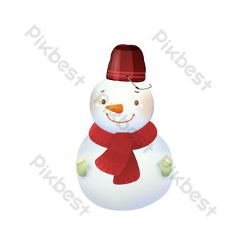pequeño muñeco de nieve sonriente diseño de elementos de invierno Elementos graficos Modelo PSD