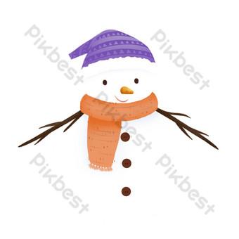 muñeco de nieve sonriente diseño de dibujos animados de invierno elementos comerciales Elementos graficos Modelo PSD