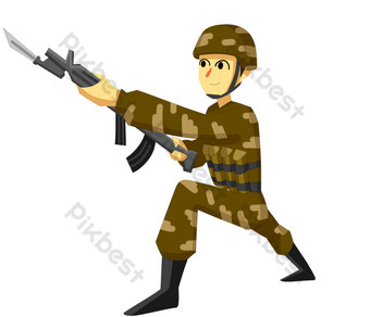 Soldiers with guns by sea, land and air PNG Images Template PSD
