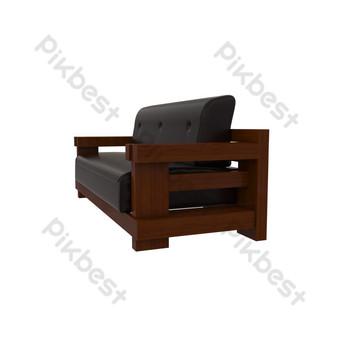 أريكة جلدية أثاث من الخشب الصلب صور PNG قالب PSD