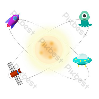 ilustración de la nave espacial del cohete del día espacial Elementos graficos Modelo PSD