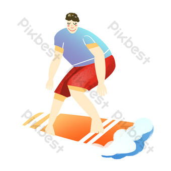 Sport fitness boy sea skateboarding surfing PNG Images Template PSD