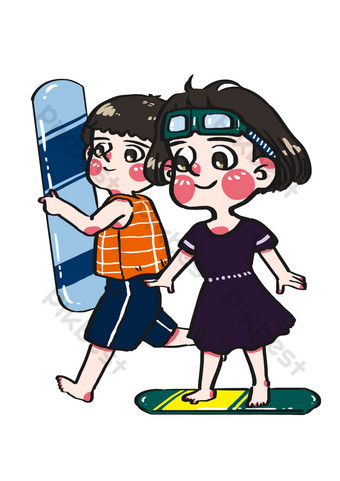 Sports and fitness friends go surfing on the sea cartoon hand drawn characters PNG Images Template PSD