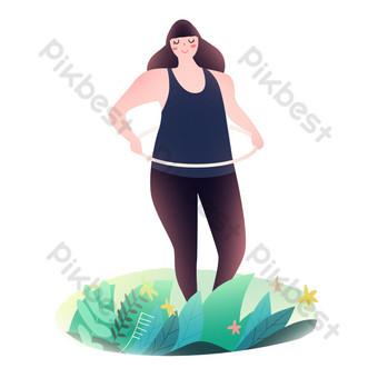 فتاة اللياقة البدنية الرياضية تدور حولا هوب صور PNG قالب PSD